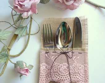 Burlap Flatware holders for weddings, Wedding Table Setting,Rustic Flatware Pockets