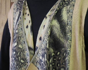 How to Sew Pashmina Scarf Vest. Womens Vest Made from Scarf. Cascading Front with Fringe Ruffle Drape Vest . High Fashion