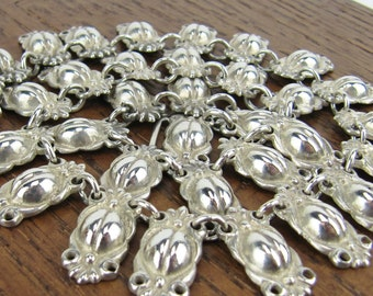 Vintage Mexican Sterling Silver Necklace jewelry heavy coffee beans hand made 925 Mexico Hecho en Mexico 53 grams!