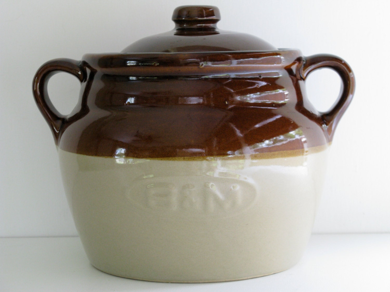 Stoneware Pottery B Amp M Bean Pot Crock Made In U S A