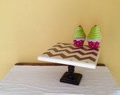 Brown and Ivory Chevron Cupcake Stand 10 inch