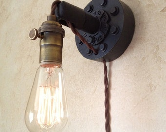 Plug in Industrial Wall Sconce. Retro Edison Lamp.