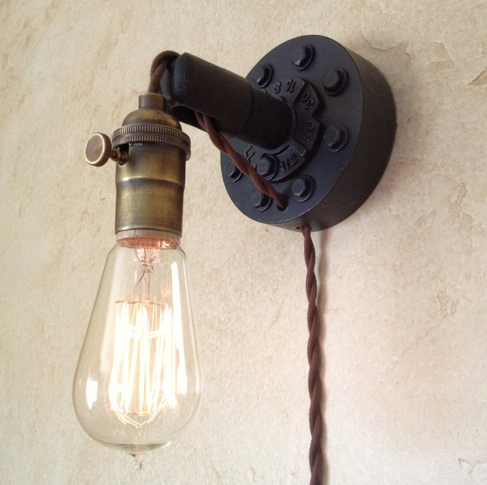 Vintage Plug In Wall Sconces : Plug in Industrial Wall Sconce. Retro Edison by IroncladIndustrial