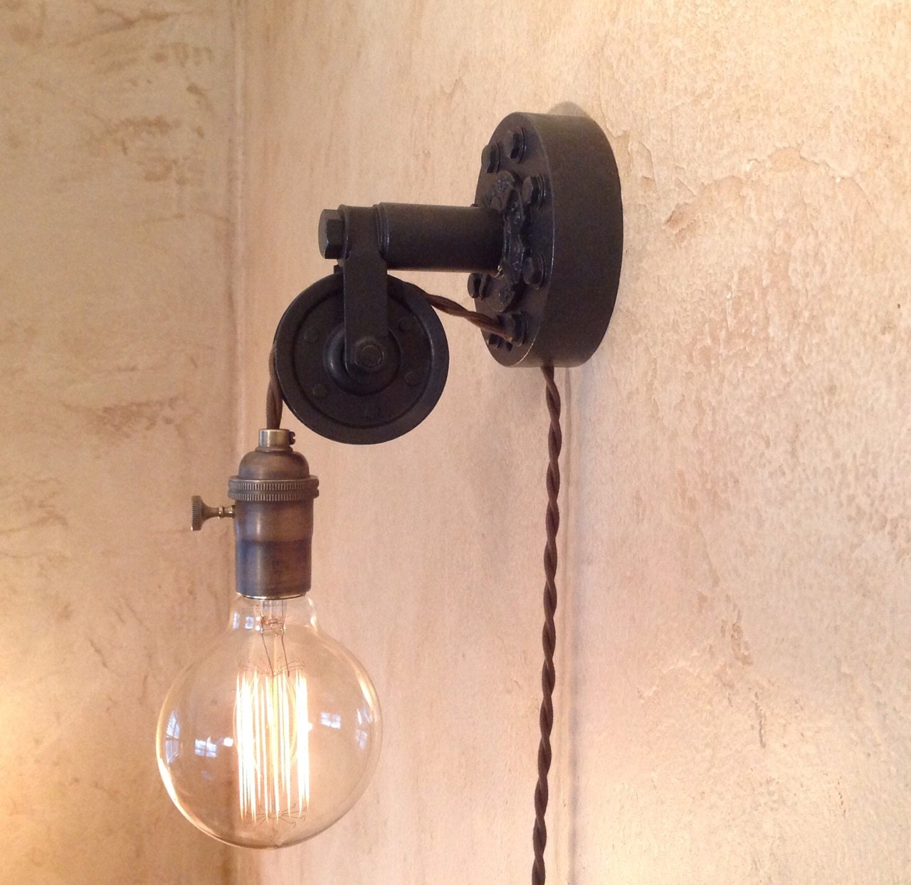Industrial Wall Sconce Plug In : Industrial Pulley Sconce Lamp. Plug in. by IroncladIndustrial