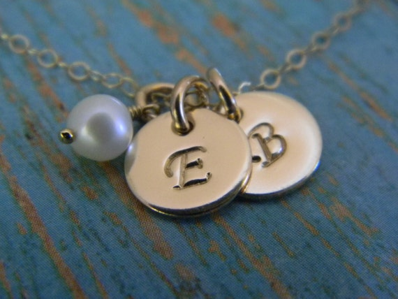 14kt Gold Filled Dainty, 2, Two Tiny Custom Made Hand Stamped Personalized Monogram Initial Necklace with Freshwater Pearl (3/8 inch )