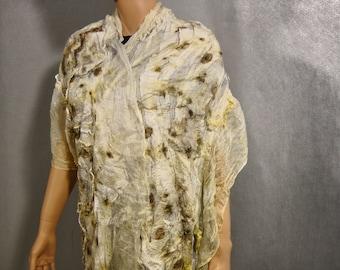 Felted  Scarf Nuno Felted Scarf Shawl Wrap chunky texture Eco print