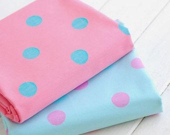 Large Dots Fabric, Pink Lake Blue Polka Dots Cotton Fabric, Baby Quilting Fabric - 1/2 yard