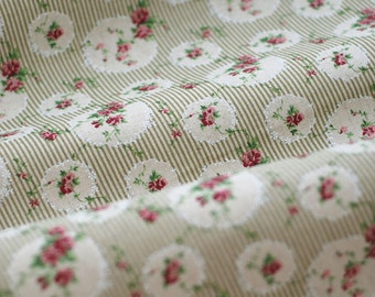 Flower Cotton Linen Fabric, Stripe With Vintage Lace Floral Circle in Light Green Pink- 1/2 Yard