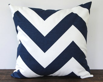 "Premier Navy chevron pillow cover One 16"" x 16"" cushion covers navy blue and white throw pillow covers modern decor"