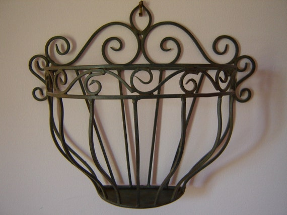 Ornate Wrought Iron Wall Pocket/ Shabby Chic By Mitzisvintage