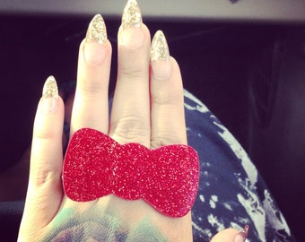 Red Glitter Bow Baby Paw Ring