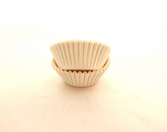 White Paper Liners for mini Size Cups Rum Balls, Truffles, Peanut Butter Cups Package is 100