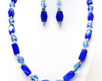 Blue Cobalt Rectangle Glass Bead Necklace & Earrings Set