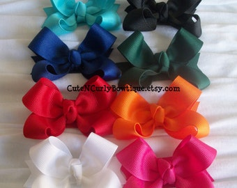 Girls Hair bow Twisted Boutique Bow White Orange Black Pink Red Baby Bows Boutique Bows Hair Accessories Stacked Bow Gift Set Hairbow Baby
