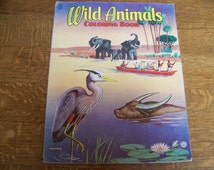 Vintage Wild Animals Coloring Book by Saalfield. Unused. Vintage Coloring Book.Vintage Color Book.Animals Book. Wildlife. Home Schooling