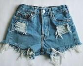 Denim Shorts High waisted Destroyed Vintage Cut Off MADE TO ORDER