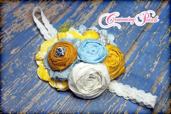 Mustard Yellow, Cornflower Blue, Gray, Grey Hair Accessory, Fabric Flower Hair Clip, Hair Bows, Baby Headband, Brooch