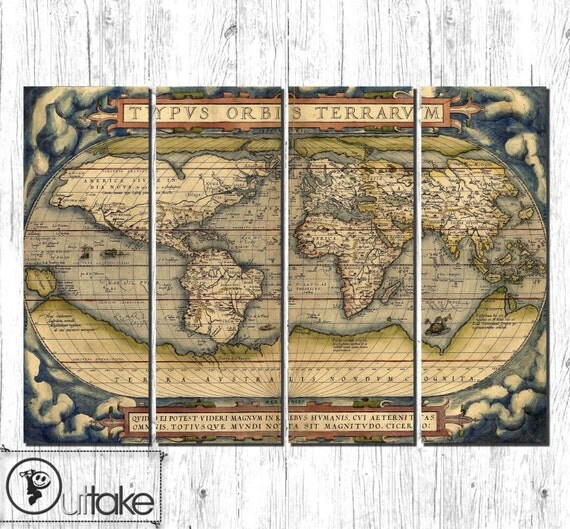 Old World Map Large Canvas Art Ready To Hang By Outtakecanvas