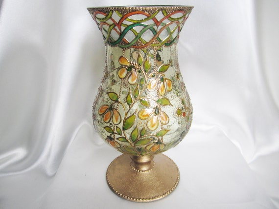 Tuscany Hand Painted Pedestal Glass Vase Hurricane Lamp By