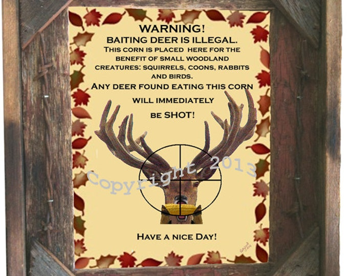 "Barnwood Picture Frame 8X10 includes ""Baiting Deer is illegal"" sign, glass and hanging hardware"