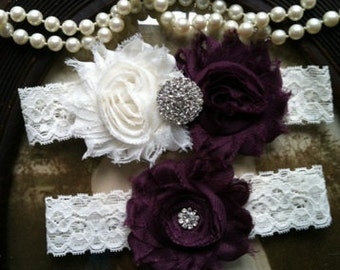 SALE-Wedding Garter - Plum - Purple - Garters- Toss Garter - Ivory Lace Garter Set - Bridal Garters - Vintage - Plum - Wedding - Rhinestone