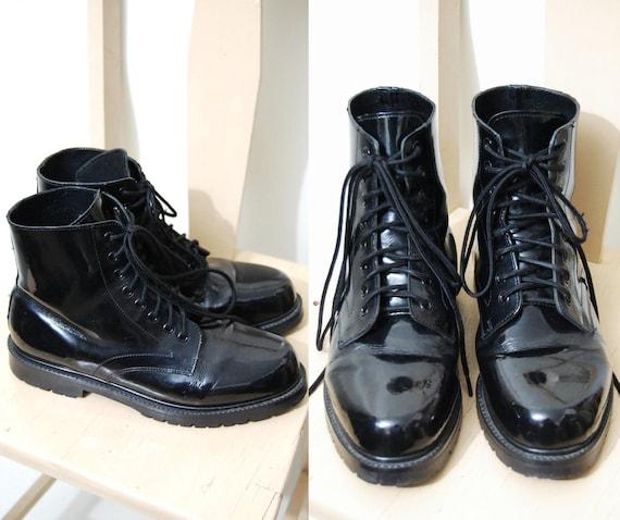 90s vintage black leather mens boots shiny patent