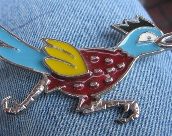 Vintage Road Runner Vibrant Brooch from the 1980s, Steampunk, Unique, Statement Piece