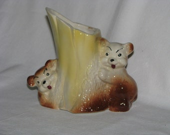 Vintage Art Pottery Planter, Brown Bear Cubs With Stump