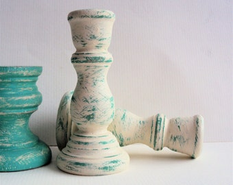 Mini Shabby Distressed Candlesticks - Tiny Teal Boho Chic Candle Holders - Little White & Turquoise Rustic Chic Wedding Favor