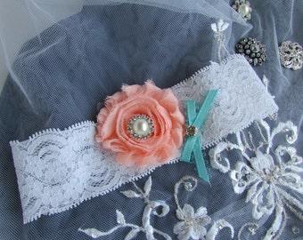 Lace Garter / white -salmon/tiffanny blue bow / Bridal Garter  /  Garter / Vintage Inspired/ Swarovski crystal