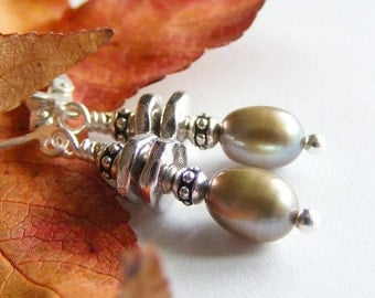 Green Freshwater Pearl and Silver Earrings with Leverbacks. Green Tea. Earthy. Sage. Olive. Zen.