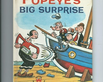 Vintage Wonder Book Popeye's Big Suprise 1962 Also features Olive Oyl, Wimpy, and Swee'Pea