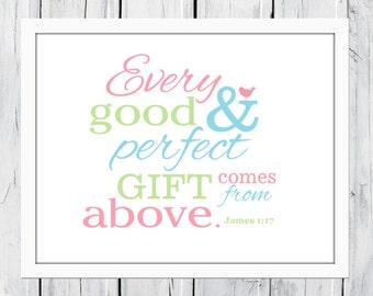 Bible Verse Nursery Print James 1:17 Christian Art