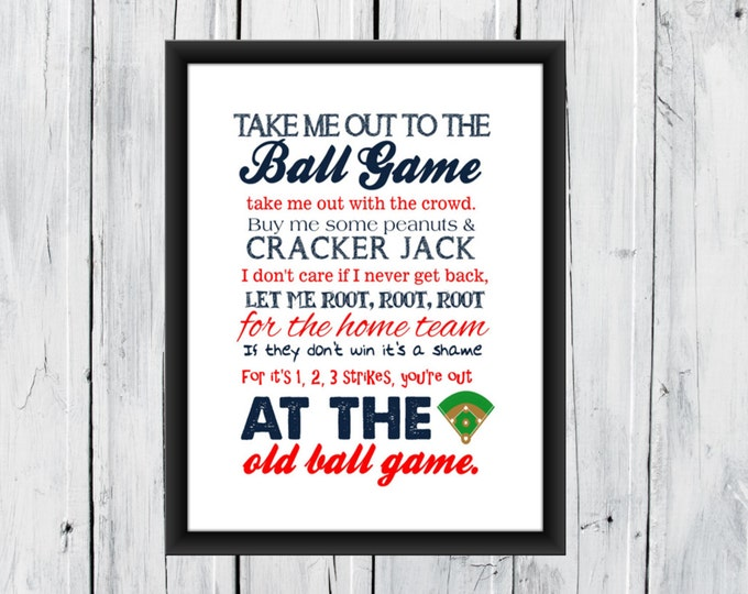Baseball Print Take me out to the Ballgame - Pick your Team - Baseball Nursery CANVAS AVAILABLE