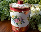 Vintage George W. Horner Decorative Tin Caddy, Red Cream Floral Scrolls, England