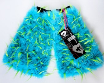 MADE TO ORDER Rave Fluffies turquoise & lime spiked fur fluffy legwarmers monster fur furry bootcovers fuzzy boots festival costume leggings