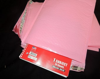 30 Large Pastel Pink  Bubble Mailers, Size-5 Padded Self Adhesive Padded Mailer Envelopes 10.5x15.5