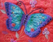 NOW SOLD Textile Art Butterfly Applique Blue mounted OOAK