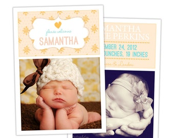 Birth Announcement Template for Photographers Photo Card Template Photography Birth Announcement Photoshop Card Template  - BA143