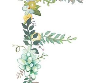 F - Floral Letter print