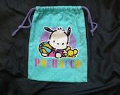Vintage 1995 Sanrio Pochacco blue pull-string bag/purse Hello Kitty
