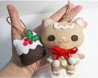 Gingerbread Cat and Meow Christmas Pudding - Christmas Ornament Felt doll PDF pattern, e-pattern, DIY