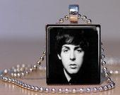Scrabble, Tile, Necklace, Pendant, Handmade, Jewelry, Altered Art, Beatles, Retro, 60's