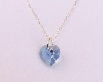 Heart Blue Topaz Swarovski Crystal & Sterling Silver Necklace