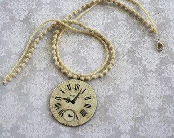Stone Beaded Clock Face Pendant Necklace