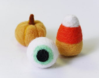Wool Felt Halloween ornament, set of 3 - Needle felted Pumpkin wool eyeball felt candy corn halloween decor