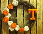 Large UT Vols College or Professional Football wreath: Tennessee orange and white burlap- Kentucky, Georgia, Florida, Ohio, Notre Dame