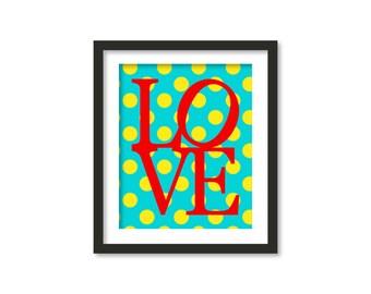 Love print, love art, red love, love typography, green polka dots, Typographic Wall Art, Typography Art, Geometric Wall Art, Wall Decor,