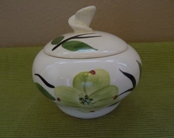 Mid Century Modern Covered Bowl Green Floral