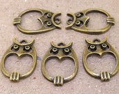 10Beads Charm Owl Pendant bronze Plated Victorian Pendants Base Link Beads ----- 16mmx 23mm ----- 10Pieces 2P